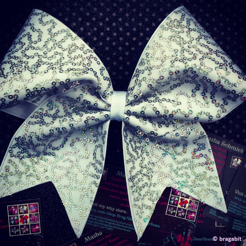White and silver hologram sequins cheer bow - BRAGABIT