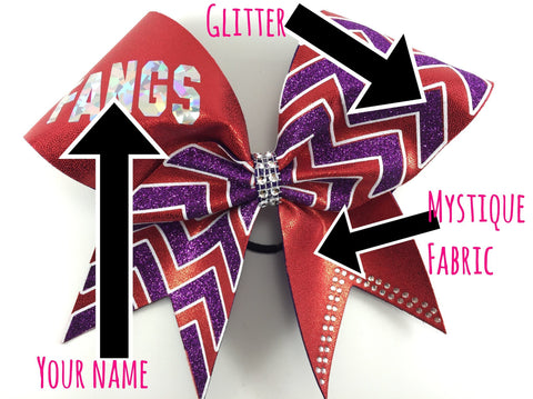 Chevron bow. Bow with outlined chevron and your name or your team name. - BRAGABIT  - 1