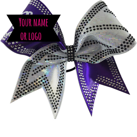 Rhinestones cheer bow. 2 color bow with black and clear rhinestones. You can add your team name. - BRAGABIT  - 1