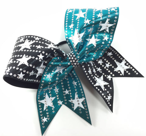 2 color mystique bow with glitter stars and crystals - BRAGABIT  - 1