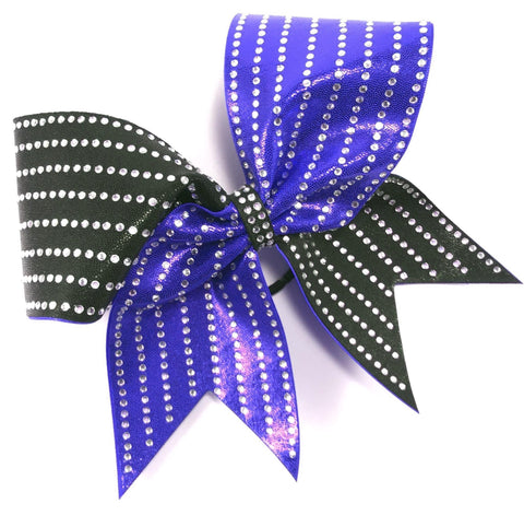 2 color mystique bow with straight lines of rhinestones - BRAGABIT  - 1