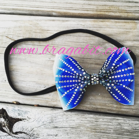 Black and blue ombre glitter headband with rhinestones. - BRAGABIT