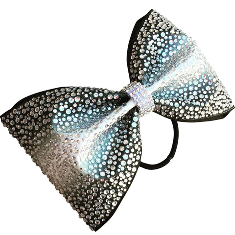 Default Type - Black And White Ombre Tailless Bow With Rhinestones