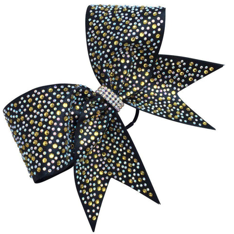 Default Type - Black Bow With Gold And Silver Rhinestones