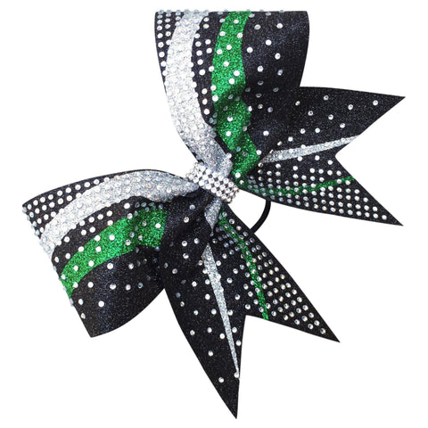 Default Type - Black, Green, And Silver Bow With Rhinestones