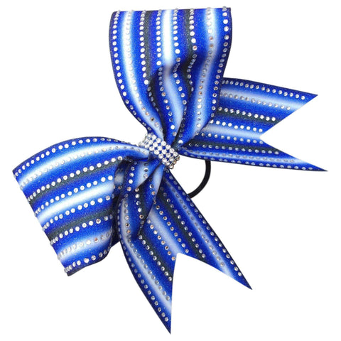 Default Type - Blue, Black, And White Striped Bow With Rhinestones