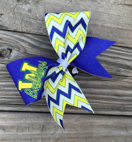 "Default Type - Blue, Yellow, Green, And White ""bulldog"" Bow"