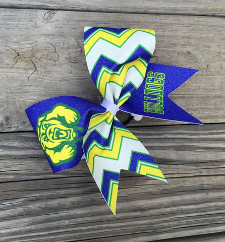 "Default Type - Blue, Yellow, Green, And White ""bulldogs"" Bow"