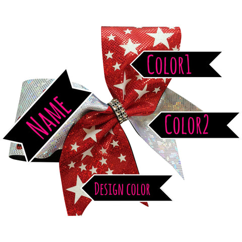 Bow with glitter stars . You can choose bow color, stars color, add a name. - BRAGABIT