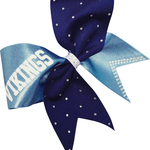 Carolina blue and navy bow with rhinestones and your team name. - BRAGABIT