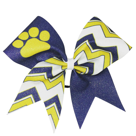 Chevron glitter bow with paw or other mascots or your team name. - BRAGABIT