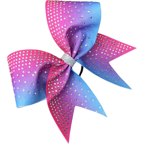 Columbia blue and hot pink bow with rhineatones - BRAGABIT