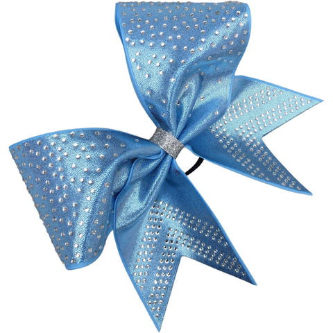 Columbia blue mystique fabric bow with rhinestones. Available in other colors. - BRAGABIT  - 1