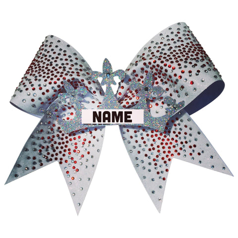 Default Type - Cusrom White Bow With Red And Silver Rhinestones