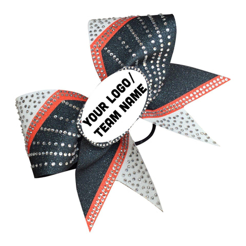 Default Type - Custom Orange, Black, And White Sparkly Bow With Rhinestones