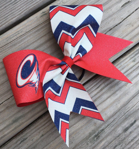 Default Type - Custom Red, Navy Blue, And White Chevron Bow