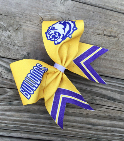 "Default Type - Custom Yellow, Purple, And White ""bulldogs"" Bow"