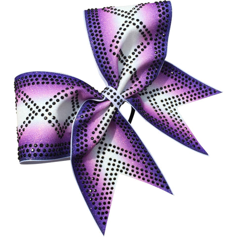 Double ombre bow with criss cross rhinestones design - BRAGABIT