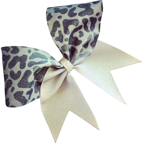 Fading black to gray ombre glitter cheetah bow with AB rhinestones center. - BRAGABIT
