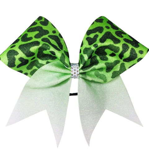 Fading cheetah bow with AB rhinestones center. Can be made in any color. Matching keychain can be added for extra charge. - BRAGABIT  - 1