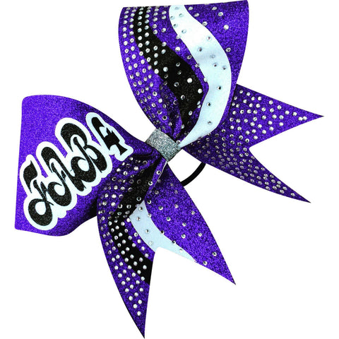 Glitter bow with swoosh designs and rhinestones. Add your name/logo -leave it in notes. - BRAGABIT  - 1