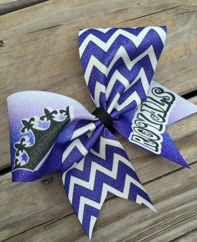 Glitter Chevron Bow with your logo and/or team name. Choose your colors. - BRAGABIT