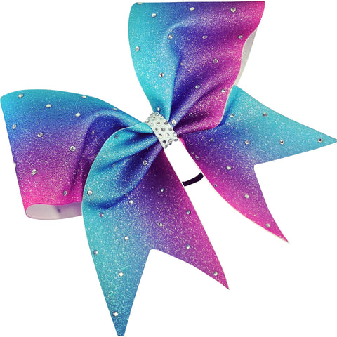 Glitter ombre bow with rhinestones. - BRAGABIT