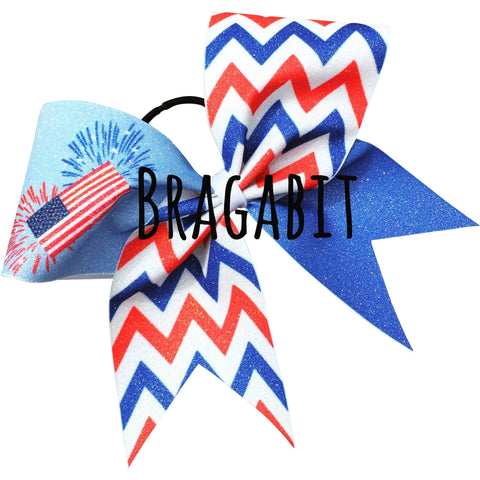 Glitter red,white and blue chevron bow with American flag and fireworks - BRAGABIT