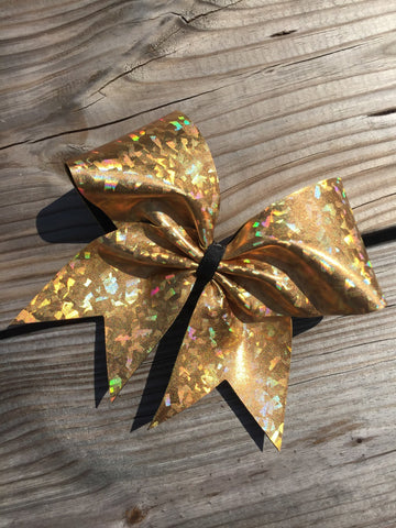 Holographic metallic bow in gold. - BRAGABIT