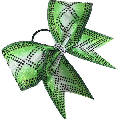 Lime green ombre glitter bow with black rhinestones - BRAGABIT