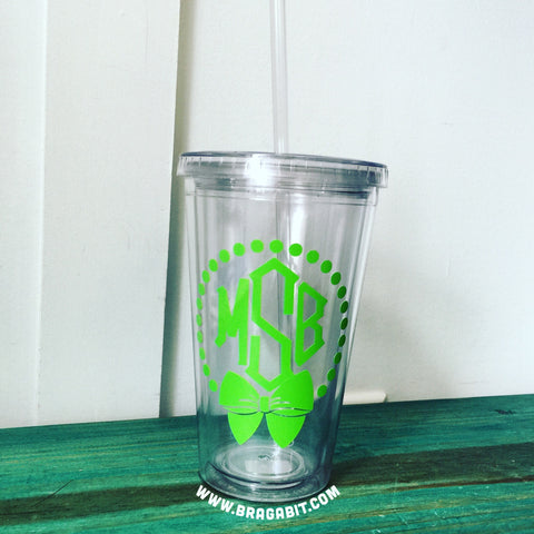 Monogrammed tumbler, Available in any color! - BRAGABIT  - 1
