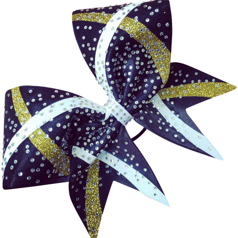 Mystique bow with 2 color glitter designs and rhinestones - BRAGABIT