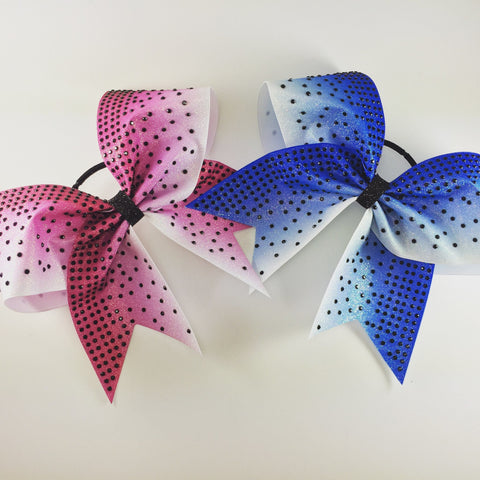 Ombre glitter bow with rhinestones - BRAGABIT  - 1