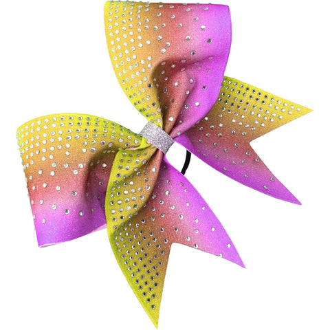 Ombre glitter dye sublimated bow with clear rhinestones - BRAGABIT  - 1