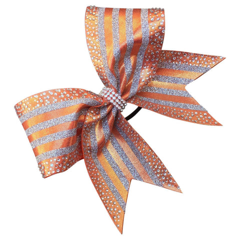 Default Type - Orange And Silver Striped Bow With Rhinestones