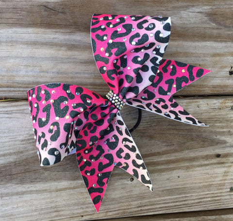 Default Type - Pink And White Ombre Cheetah Bow With Rhinestones