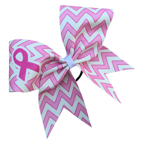 Pink chevron glitter bow with breast cancer awareness symbol - BRAGABIT