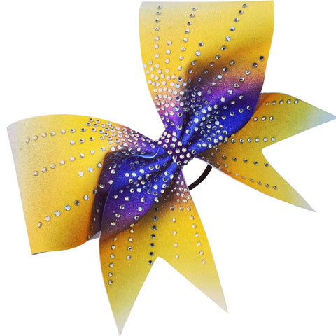 Purple, gold and white ombre bow with starburst effect. - BRAGABIT