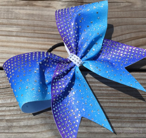 Purple-turquoise ombre glitter bow with thinestones - BRAGABIT