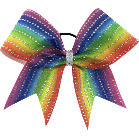 Rainbow sublimated glitter bow with AB rhinestones. - BRAGABIT  - 1