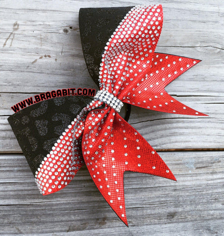 Default Type - Red And Black Bow With Silver Rhinestones
