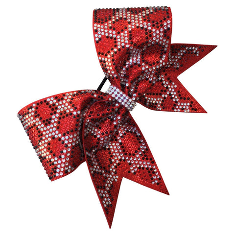Default Type - Red Bow With Black, Red, And Silver Rhinestones