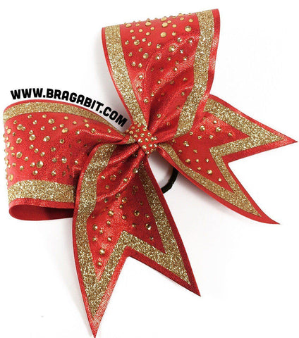Default Type - Red Bow With Gold Glitter And Rhinestones