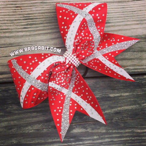 Default Type - Red, White, And Silver Bow With Rhinestones