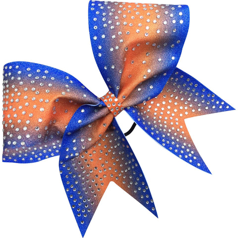 Royal blue and orange glitter bow with rhinestones - BRAGABIT
