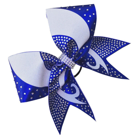Default Type - Royal Blue And White Bow With Rhinestones