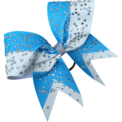 Sky blue and white glitter bow with bog rhinestones - BRAGABIT