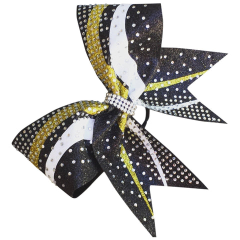 Default Type - Sparkly Black, Gold, And White Bow With Rhinestones