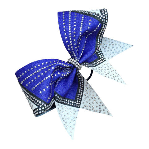 Default Type - Sparkly Blue, Black, And White Bow With Rhinestones