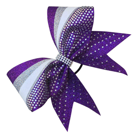 Default Type - Sparkly Purple, Silver, And White Bow With Rhinestones
